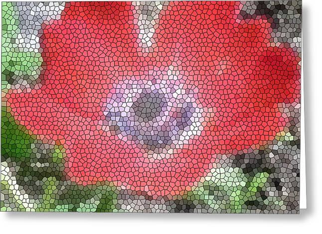 Stain Glass Anemone Greeting Card by Debra     Vatalaro