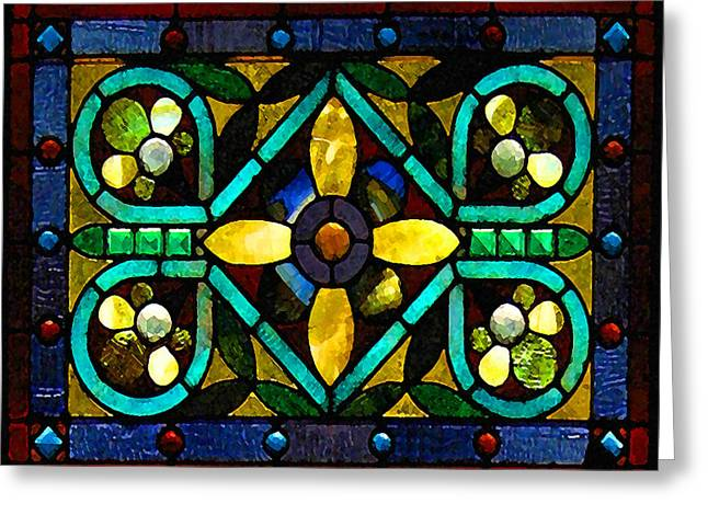 Stained Glass 1 Greeting Card by Timothy Bulone
