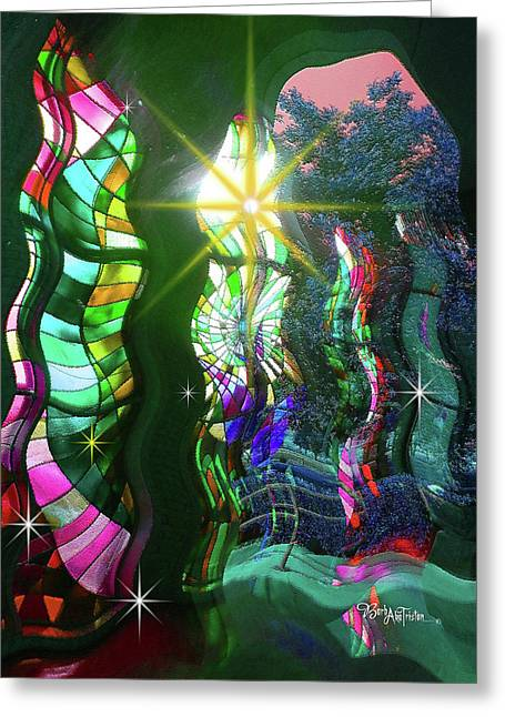 Stained Glass #4719_2 Greeting Card by Barbara Tristan