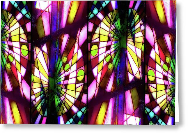 Stained Glass #4722 Abstract Design 1b Greeting Card by Barbara Tristan