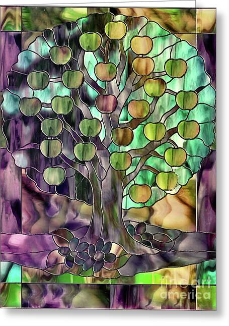 Stained Glass Apple Tree Greeting Card by Mindy Sommers