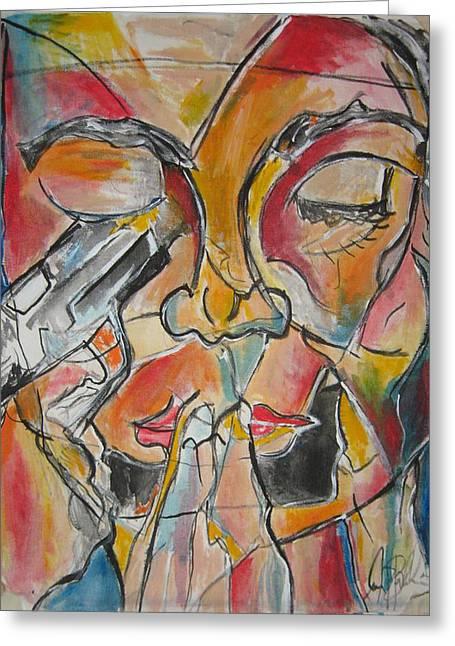 Stained Glass Assassinatiion Greeting Card by Jon Baldwin  Art
