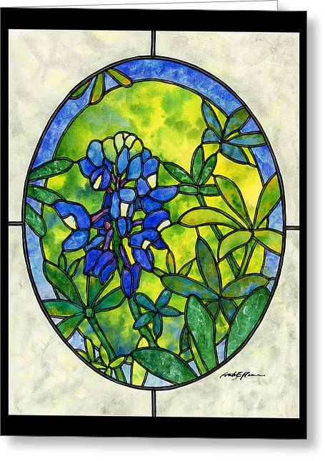 Stained Glass Bluebonnet Greeting Card by Hailey E Herrera