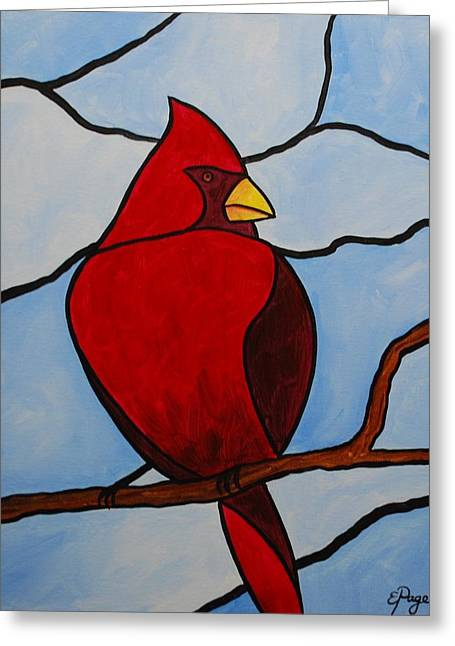 Stained Glass Cardinal Greeting Card