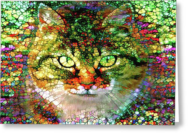 Stained Glass Cat Greeting Card