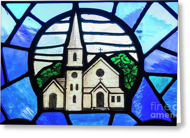 Stained Glass Church Greeting Card by Juli Scalzi