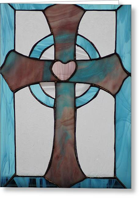 Stained Glass Cross Greeting Card by Ralph Hecht