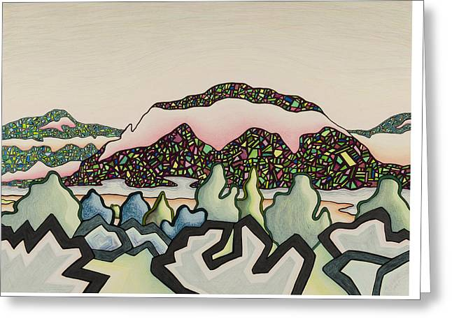 Stainglass Desert #2 Greeting Card by Dale Beckman