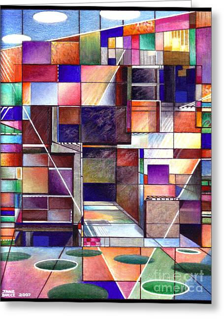 Red Buildings Mixed Media Greeting Cards - Stained Glass Factory Greeting Card by Jane Bucci