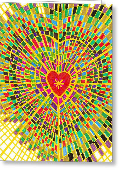 Stained Glass Heart Greeting Card by Brenda Adams