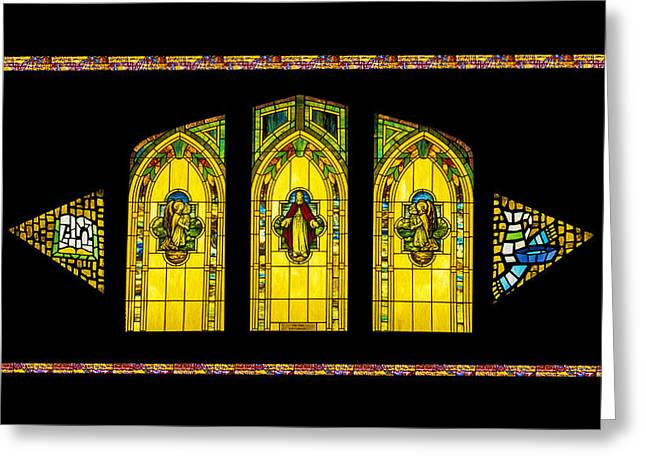 Greeting Card featuring the digital art Stained Glass by Jeff Phillippi
