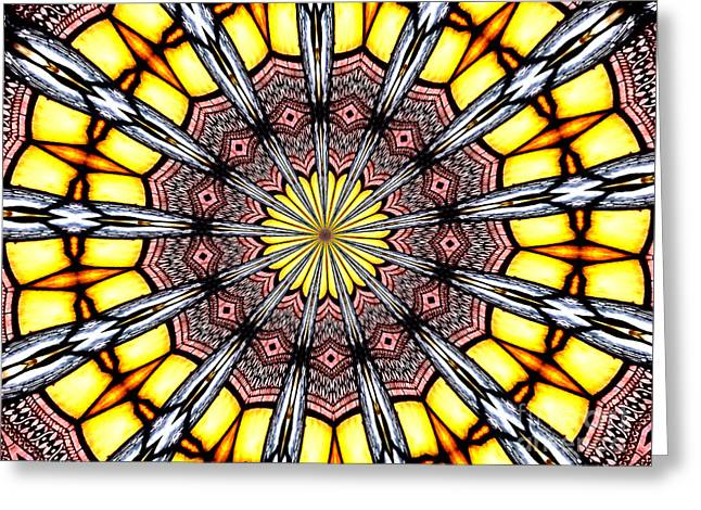 Greeting Card featuring the photograph Stained Glass Kaleidoscope 23 by Rose Santuci-Sofranko