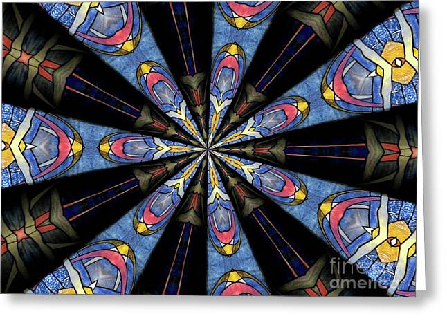 Stained Glass Kaleidoscope 28 Greeting Card by Rose Santuci-Sofranko