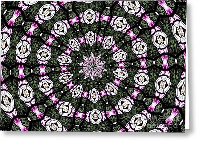 Greeting Card featuring the photograph Stained Glass Kaleidoscope 3 by Rose Santuci-Sofranko