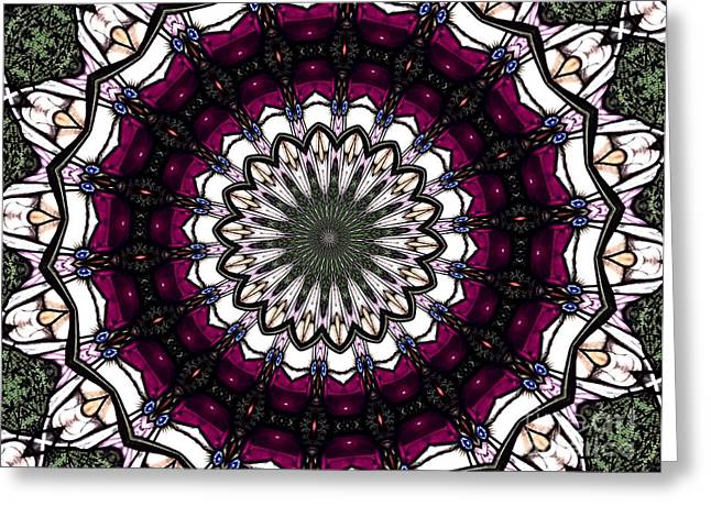 Greeting Card featuring the photograph Stained Glass Kaleidoscope 4 by Rose Santuci-Sofranko