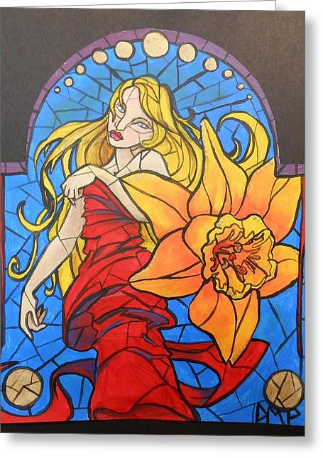 Stained Glass Lilly Greeting Card