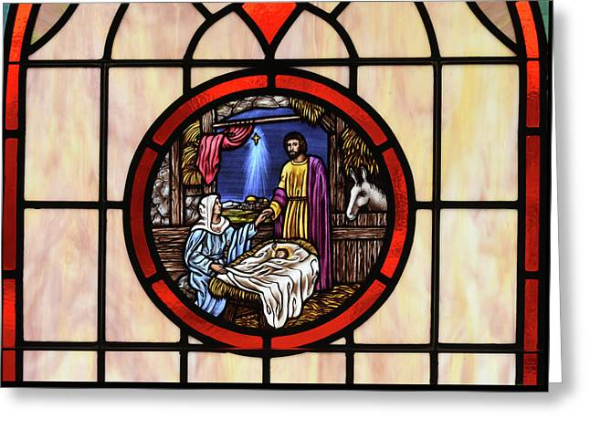 Stained Glass Nativity Window Greeting Card