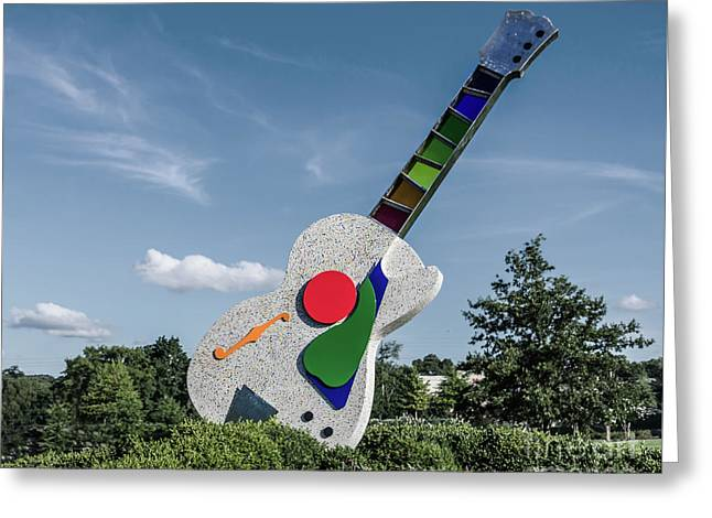 Stained Glass Neck Guitar Sculpture Greeting Card