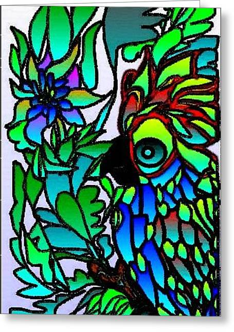 Greeting Card featuring the digital art Stained Glass Parrot by Rae Chichilnitsky