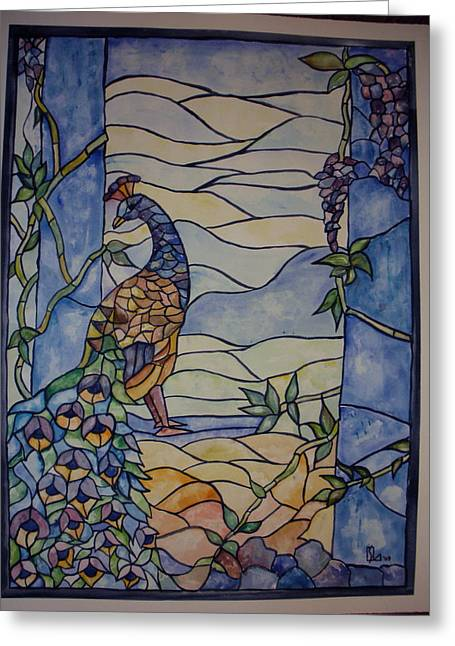 Stained Glass Peacock Greeting Card