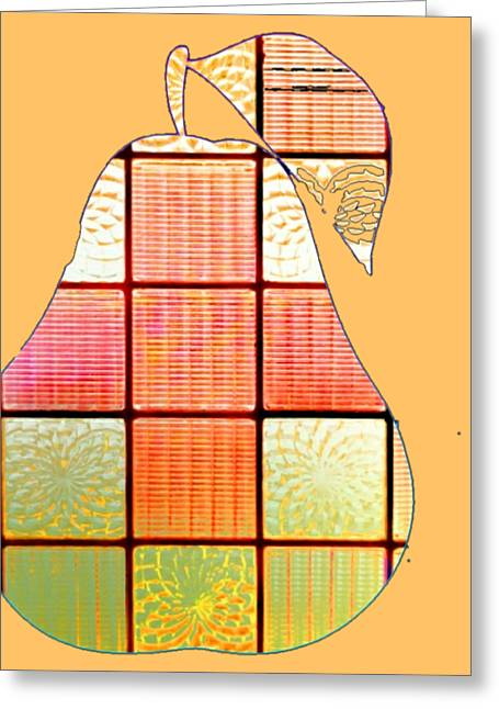 Stained Glass Pear Greeting Card