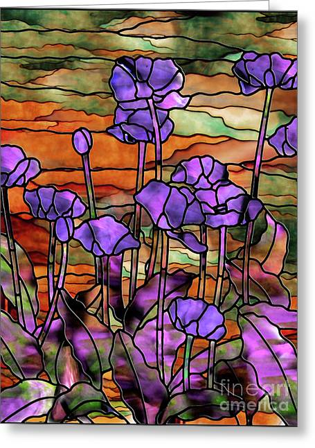 Stained Glass Poppies Greeting Card by Mindy Sommers