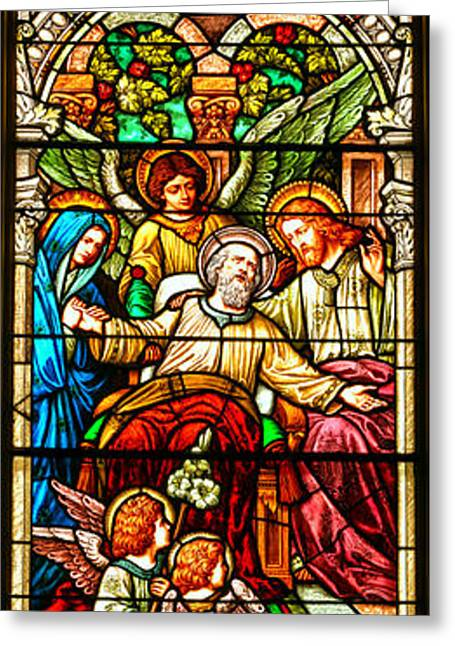 Stained Glass Scene 1 - 3 Greeting Card by Adam Jewell