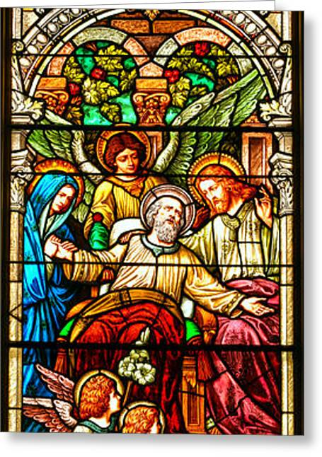 Stained Glass Scene 1 - 4 Greeting Card by Adam Jewell