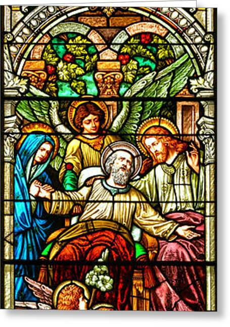 Stained Glass Scene 1 Greeting Card by Adam Jewell