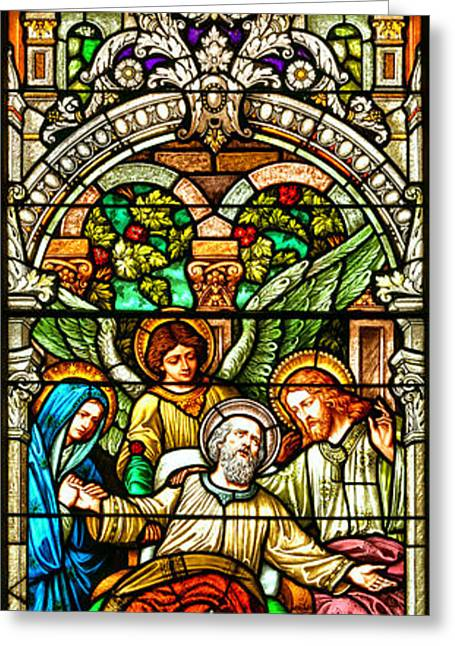 Greeting Card featuring the photograph Stained Glass Scene 1 Crop by Adam Jewell
