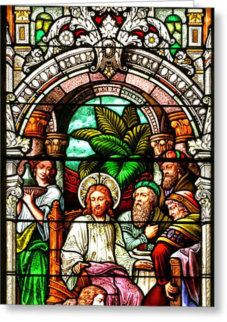 Greeting Card featuring the photograph Stained Glass Scene 11 Crop by Adam Jewell