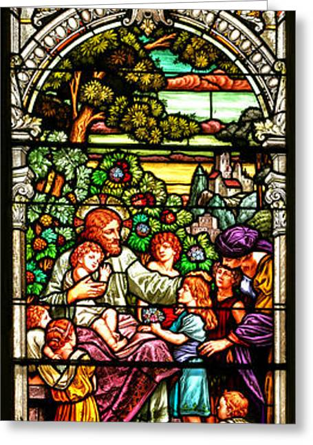 Greeting Card featuring the photograph Stained Glass Scene 12 Crop by Adam Jewell