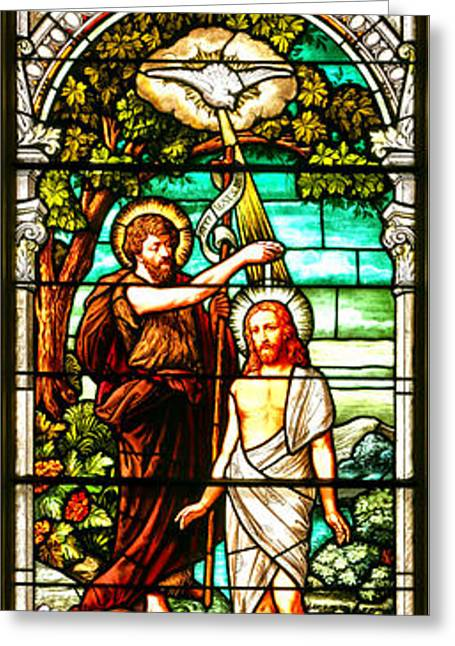 Stained Glass Scene 2 Greeting Card by Adam Jewell