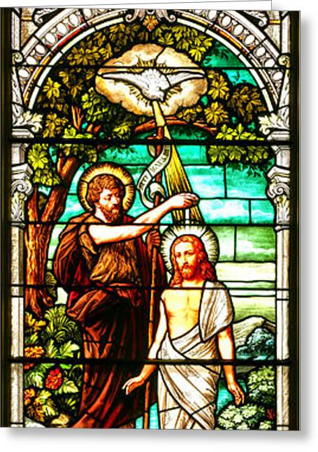 Stained Glass Scene 2 Crop Greeting Card by Adam Jewell