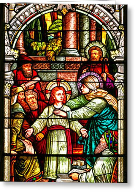 Stained Glass Scene 3 Greeting Card by Adam Jewell