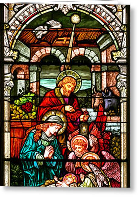 Stained Glass Scene 4 Greeting Card by Adam Jewell