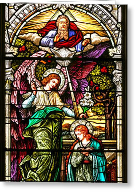 Greeting Card featuring the photograph Stained Glass Scene 5 Crop by Adam Jewell