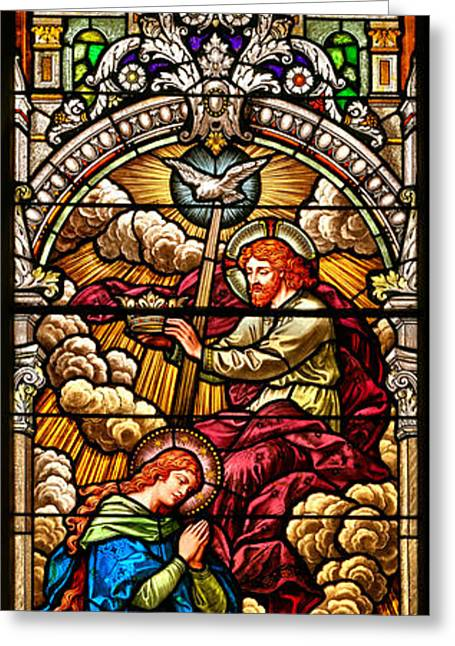Stained Glass Scene 7 Crops Greeting Card by Adam Jewell