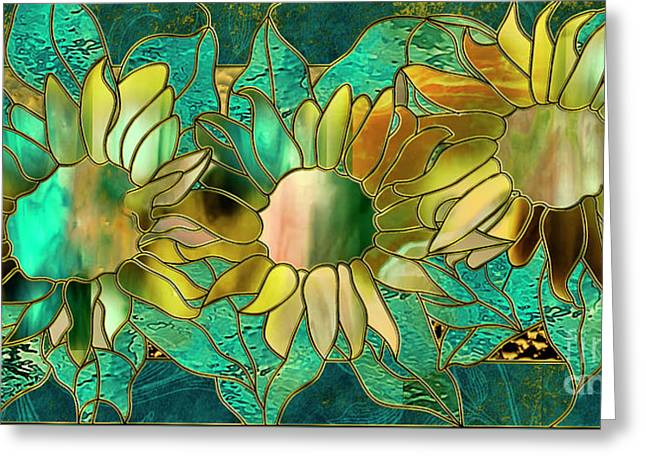 Stained Glass Sunflowers Greeting Card by Mindy Sommers
