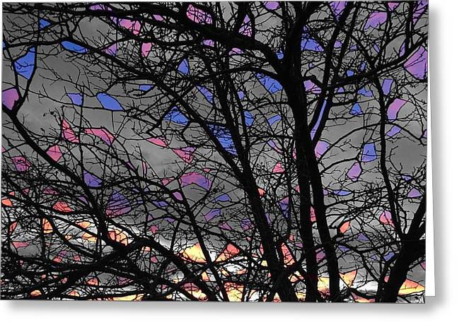 Greeting Card featuring the photograph Stained Glass Sunset by Rand