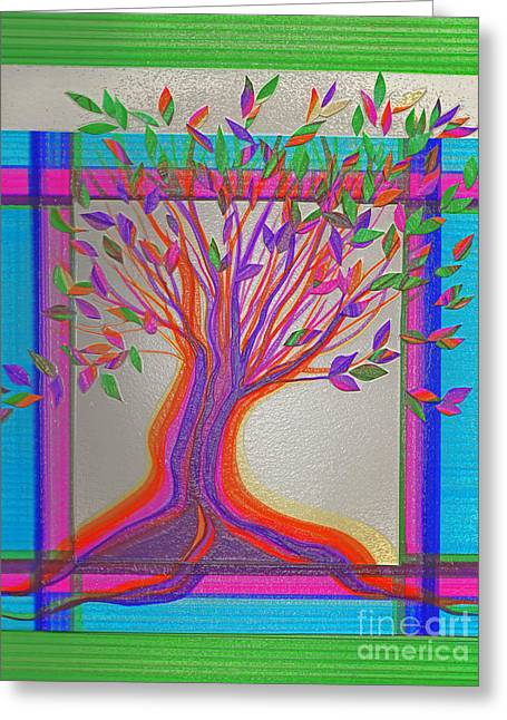 Stained Glass Tree By Jrr Greeting Card by First Star Art