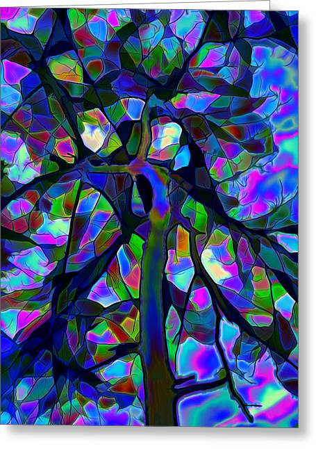 Stained Glass Tree Greeting Card by Lilia D
