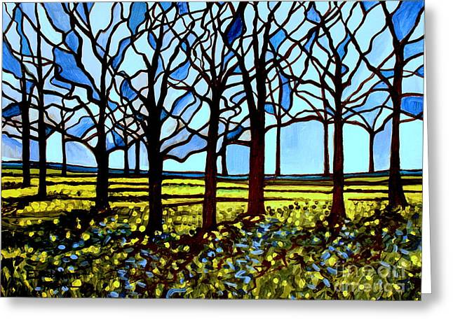 Stained Glass Trees Greeting Card by Elizabeth Robinette Tyndall