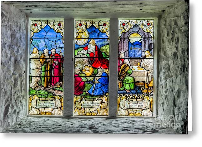 Stained Glass Triptych Greeting Card by Adrian Evans