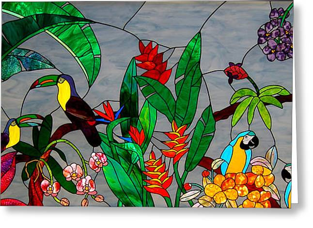 Stained Glass Tropical Birds Greeting Card by Garland Johnson
