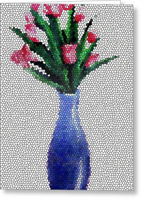 Stained Glass Vase Greeting Card by Farah Faizal