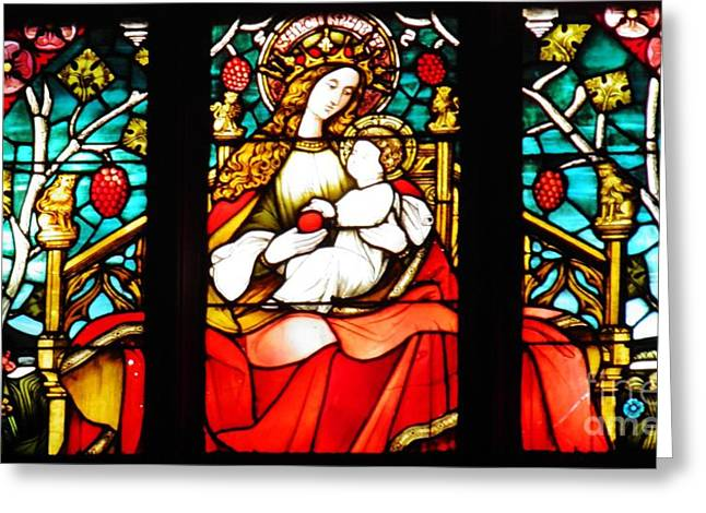 Stained Glass Virgin And Child 2 Greeting Card