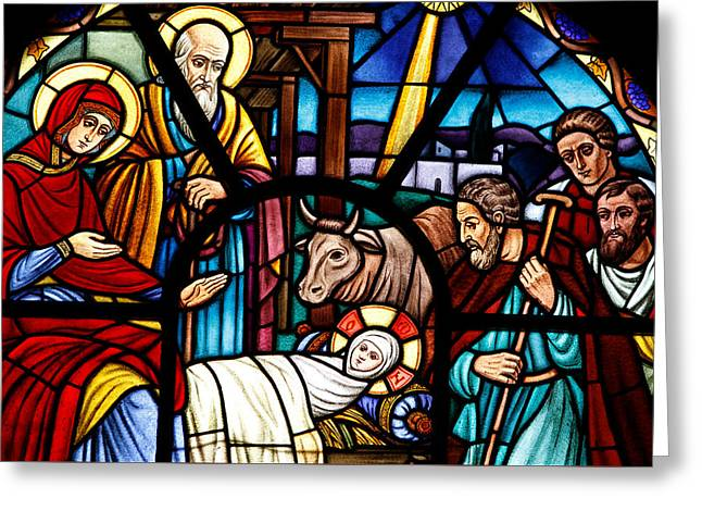 Stained Glass Window Depicting The Nativity Greeting Card
