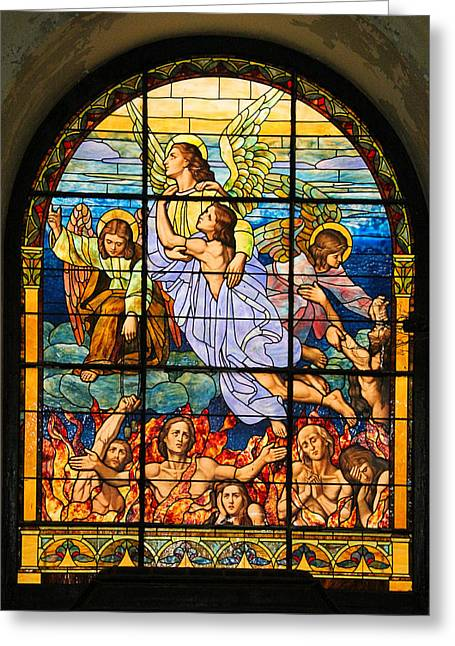Greeting Card featuring the photograph Stained Glass Window by Elizabeth Budd