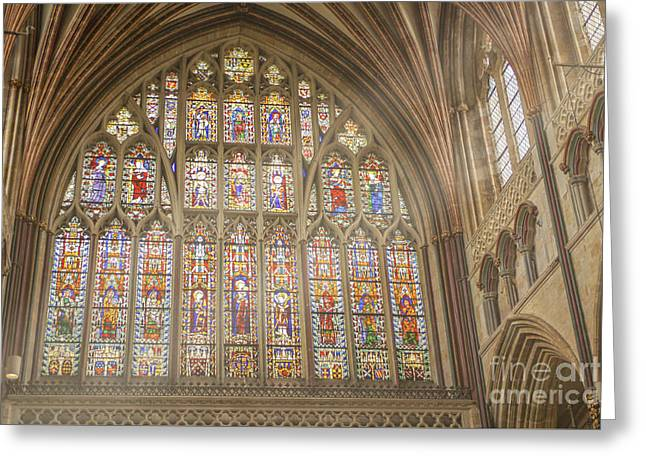 Stained Glass Window In Exeter Cathedral Greeting Card by Patricia Hofmeester